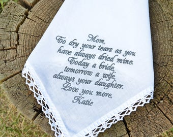 Wedding handkerchief, Gift for mom, Wedding gift for mother, Handkerchief for mother of the bride, Gift from the Bride personalized mom gift