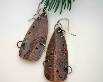 Artisan Mixed Metal Earrings, Long Textured Copper Dangles