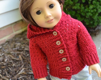 18 inch Doll Clothes - Crocheted Hooded Sweater - Red - MADE TO ORDER - fits American Girl