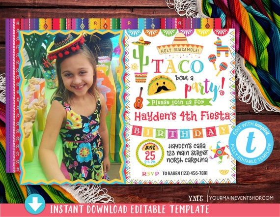 Fiesta Invitation Photo, Fiesta Birthday Party Invitation, Mexican Fiesta Birthday Party Invite, Taco Bout a Party Invitation, taco twosday