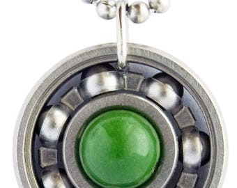 Deep Green Jade Roller Derby Skate Bearing Pendant Necklace