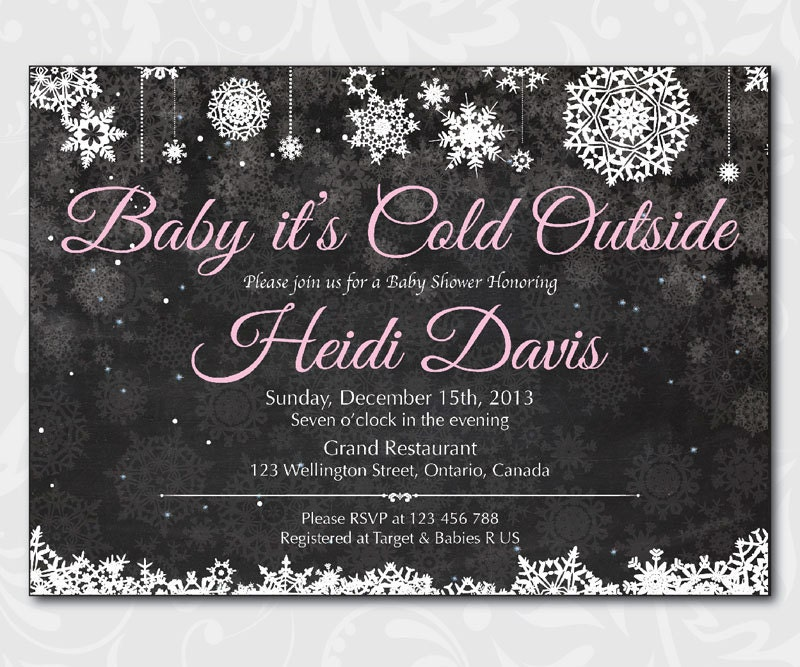 Baby Its Cold Outside Baby Shower Invitation. Winter Baby