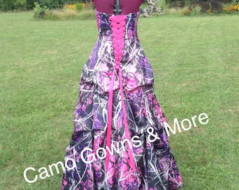 Muddy Girl CAMO Dress / Gown with Pick Up Skirt / Design Options available