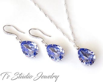 Teardrop Crystal Bridal or Bridesmaid Neckace and Earrings Set - Available in Several Colors - MIA