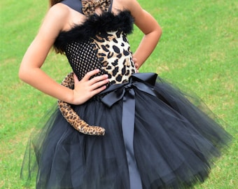 Couture Leopard Costume-Tutu Dress- Cat Costume- Couture Costume- Over the top-Perfect for Birthday , Halloween Costume , Cheetah Costume
