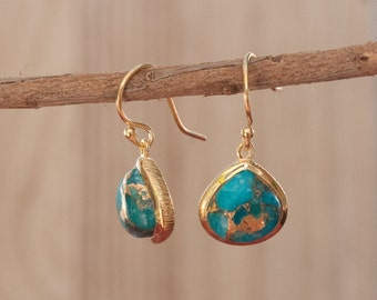 Copper Turquoise Earrings * Gold Plated * Dangle Earrings * Gemstone * Handmade * Blue Earrings * Gold Vermeil ByCila Boho* BJE047A