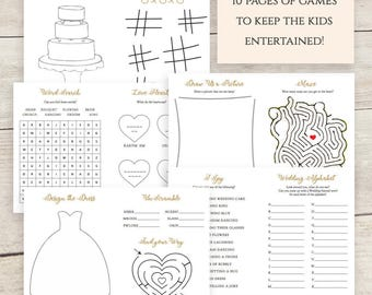Kids Activity Pack Wedding Children Activities Book, Kids Activity Book, Coloring, Maze, Word Search, I Spy, Download and Print