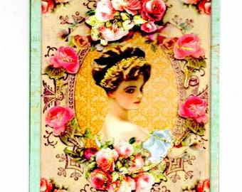 324 - 1900de girl greeting card