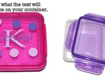 Purple Personalized Sandwich Container, This order is for 1 PURPLE Container,  Kids Lunch Box, Daycare Lunch Box, School Box, Locking Lid