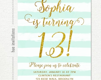 13th birthday invitations girl mint stripes gold glitter, printable teen birthday party invites, turquoise watercolor shabby rustic stripes