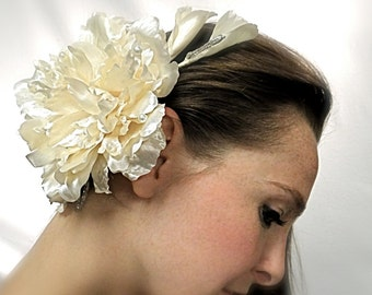 Champagne Bridal Headpiece Satin Floral Hairpiece Wedding Accessories B-127