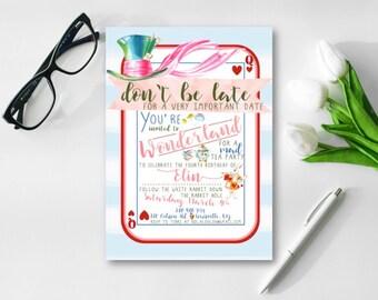 Alice in ONEderland Invitation, Alice in Wonderland Birthday, Alice in Onederland Birthday Party, Birthday Party Invite, 1st Birthday Invite