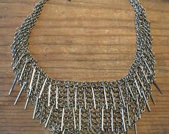 Chain-link Mesh Bib Choker with Spikes