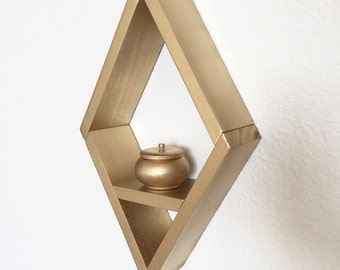 Diamond Wood Shelf, Modern Geometric Shelf, Home Decor