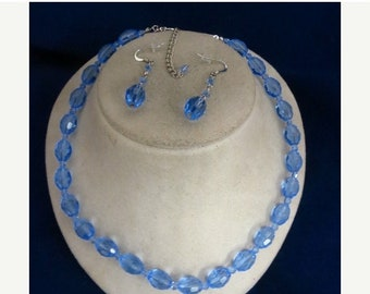 On Sale Faceted Blue Glass Matching Necklace & Earrings Set Item K # 1185