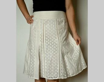 Richelieu embroidery skirt, women's summer cotton skirt, shabby skirt, summer ivory skirt, lace skirt, vintage skirt size M