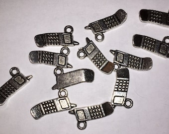 Antiqued Silver Toned Cell Phone charms (12) 20x6mm