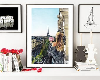 Paris Girl art, Paris illustration,Paris view painting, France painting, Paris print, Fashion illustration, fashion wall art, Paris wall art