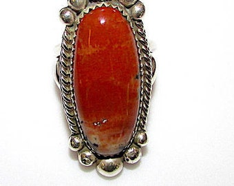 Navajo Old Pawn Sterling Silver Petrified Wood Statement Ring Size 7 Ring Signed