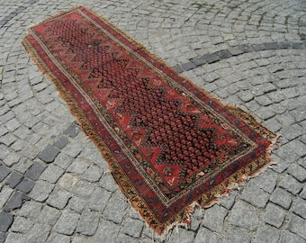 1850's Caucasian Vegetable Dye Collectible  Runner   Carpet Rug 33'' X 110,2''  Inches