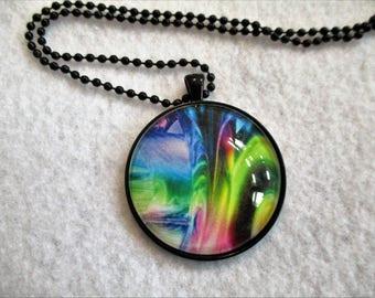 Fantasy RAINBOW Swirl Cabochon PENDANT Necklace
