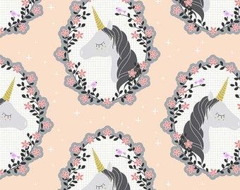 Believe - Pink Unicorn Fabric - Sandra Clemons - Michael Miller - Sold by Half Yard