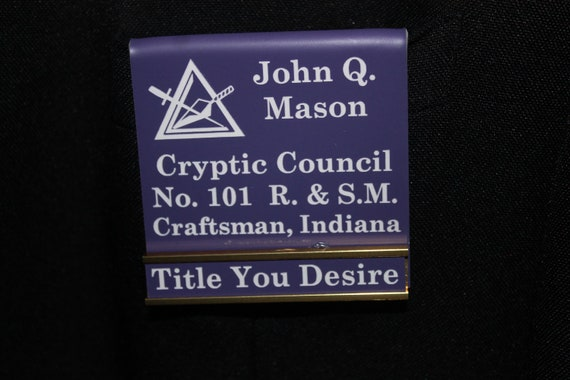 Council of Royal & Select Masons Officer or Members over the pocket Badge with interchangeable title slide bar