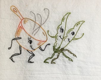"""The """"Vegetable March""""Hand Embroidered Dish Towel"""