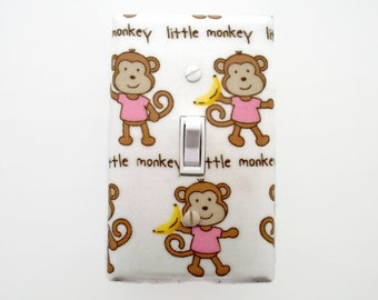 Jungle Light Switch Cover - Pink Monkeys Switch Plate Cover - Girls Jungle Nursery - Monkeys Outlet Cover - Girl Baby Room - Monkey Nursery