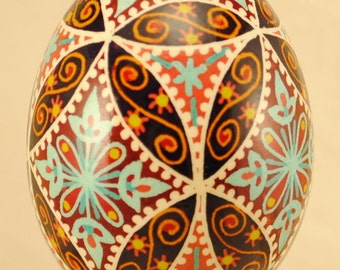 Ukrainian Egg: Blue Flowers and Latice