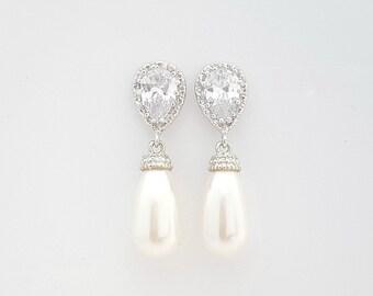 Wedding Pearl Earrings, Pearl Drop Bridal Earrings, Bridesmaid Earrings, Swarovski Pearls, Crystal Earrings, Bridal Wedding Jewelry, Aria