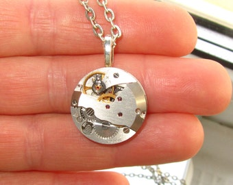 Mens Steampunk Necklace Pendant Watch Mechanism Birthday Gift Statement Jewelry Anniversary Gifts Silver Pendant Unisex Necklaces Gift ideas