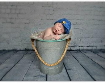 Knitted Mohair  Boy Newborn Hat , Cup  Handmade Photo Prop