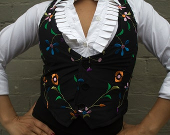 Black REVERSIBLE Waistcoat with embroidered lining
