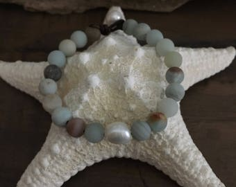 AMAZONITE, FRESHWATER Pearl, LEATHER Bracelet, Knotted Antique Brown Leather, White Nugget Pearl Center, Amazonite Beads