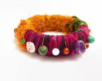 Recycled Sari Silk Bangle, Colorful Sari Bangle, Boho Fabric Bangle, Recycled Fabric Bracelet, Silk Bracelet with Beads, Beaded Bangle