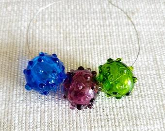 Lampwork beads 1pc, Hollow glass bead,Murano glass bead