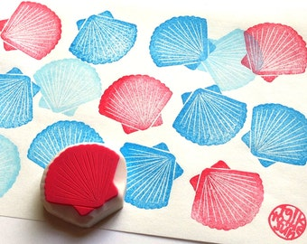 scallop stamp | shell stamp | beach stamp | diy wedding | summer crafts | gift for her | hand carved stamp by talktothesun