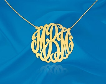 Monogram Necklace - gold monogram necklace - 1 inch 24K Gold Plated Sterling Silver - Personalized Monogram - Initial Necklace - Made in USA