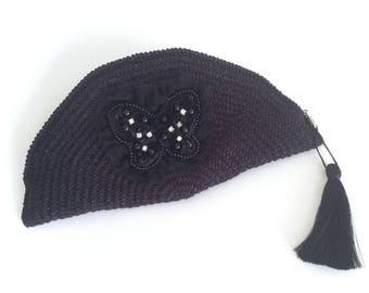 Black Crocheted Crescent Clutch ,Butterfly Zip Pouch, Bag Organizer