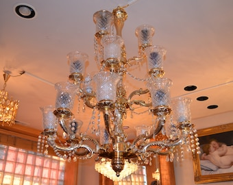3-Tier Vintage Brass and Crystal Large Chandelier. As is!