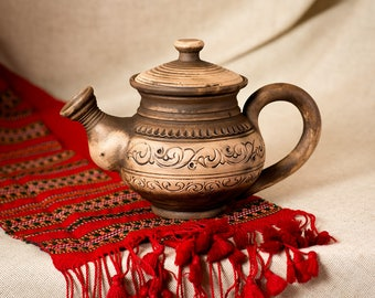 Pottery ceramic teapot 0,5 liter,  handmade clay dinnerware