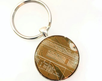 Circuit Board Key Fob Groomsmen Gift for Him Her Computer Jewelry Geek Chic Reclaimed Key Holder Eco-friendly Geek Dad Mustard Yellow