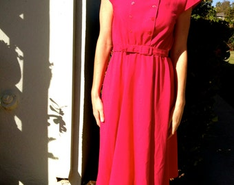 Pink Magenta Belted Dress// Size 8// Button Detail