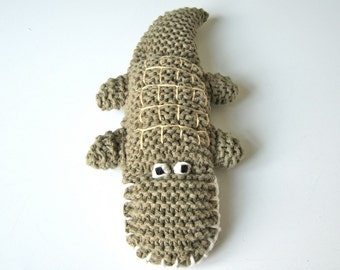 Crocodile, organic cotton knitted crocodile, colorgrown, green, natural, animal, toy, wool, eco friendly, baby gift