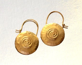 Gold Disk Earrings, Holy Land Jewelry, Goldplated Silver Earrings, Round Disk Hoops, Boho chic Hoops, Ethnic Hammered Hoops, Round earrings