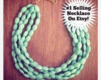 Statement Necklace - Chunky Beaded Statement Necklace MultiStrand in Mint JUST RESTOCKED