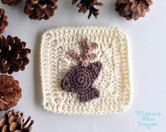 PDF Woodland Deer Granny Square Crochet Pattern - Woodland Afghan Series