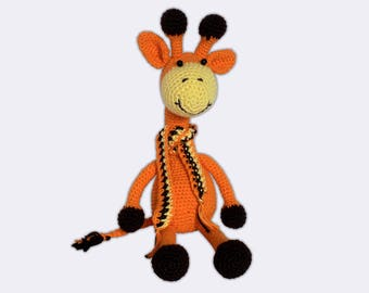 Knitted Toy Giraffe Plush Crochet Giraffe Baby Toy Knit Stuffed Animal Amigurumi Giraffe Toy Stuffed Animal Zoo Cuddly Toy Soft Giraffe