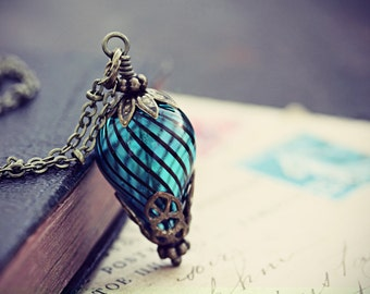 Balloon Necklace Hot Air Balloon Steampunk Jewelry Turquoise Airship Glass Bead Pendant Around the World 80 Days Neo Victorian